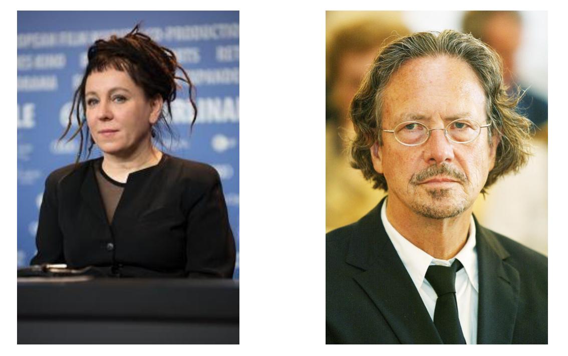 Olga Tokarczuk och Peter Handke författarbilder