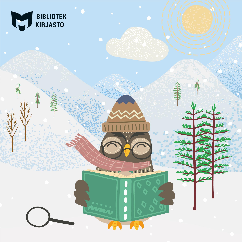 Läskampanj inför sportlovet - uggla som läser ute i snön